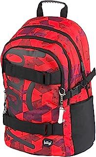 Mochila escolar para niños, niñas, adolescentes, monopatín, mochila infantil con compartimento para portátil y correa en el pecho para la escuela, Skate Triangle. (Rojo) - 270688