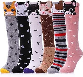 Dosoni Girls Knee High Socks Little Girls Novelty Cartoon Cat Cotton Stockings 6 Pack