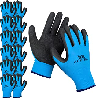 ACKTRA Coated Nylon Safety WORK GLOVES 12 Pairs, Knit Wrist Cuff, Multipurpose, for Men & Women, WG008 Blue Polyester, Black Latex, Large