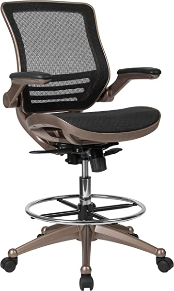 Flash Furniture Drafting Chair Adjustable Height Mid Back Mesh Drafting Chair With Arms