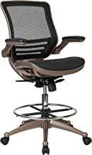Flash Furniture Drafting Chair   Adjustable Height Mid-Back Mesh Drafting Chair with Arms , Black -