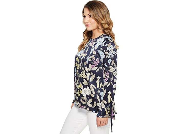 Vince Camuto Specialty Size Petite Long Sleeve Flare Cuff Country Floral Blouse