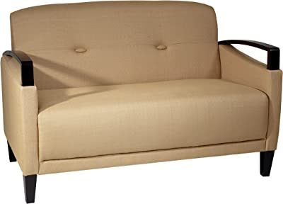 OSP Home Furnishings Main Street Loveseat with Interlace Weave Fabric and Espresso Finish Wood Accents, Woven Wheat