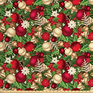 Ambesonne Christmas Fabric by The Yard, Tree Branches Spruce Leaves Balls Bells Cones Poinsettia Flowers Mistletoe Berry, Decorative Fabric for Upholstery and Home Accents, 2 Yards, Ruby Green