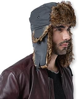 Trapper Hat - Winter Trooper Aviator Earflap Eskimo Hat - Fits Men, Women & Elmer Fudd - Russian Ushanka with Faux Fur & Ear Flaps for Cold Weather Hunting & Skiing - Waterproof, Windproof & Thermal