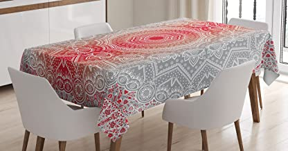 Ambesonne Grey and Red Tablecloth, Eastern Cultural Folk and Mystic Boho Ombre Mandala Art Design, Dining Room Kitchen Rectangular Table Cover, 52