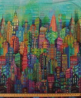 Cotton New York City Sky Line Skyline Cityscape City Scape Skyscraper Tower Buildings Urban Rainbow Multi-Colored Digital Print Cotton Fabric Print by Yard (N4234-130)