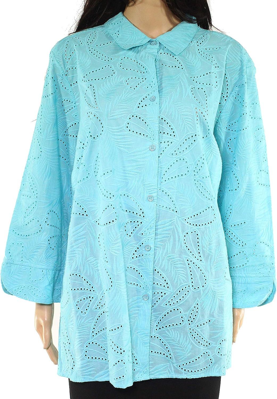 Foxcroft Women's Knit Top Plus Button Down Long Sleeve Blue 22W