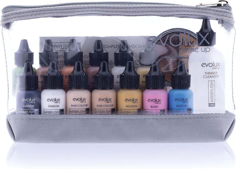 NOCHE Y DÍA EVOLUX Maquillaje Fluido para Aerógrafo, Kit Iniciación Completo, Todo Lo Necesario para Un Maquillaje Perfecto en Formato de 10 Mililitros, Variados Colores