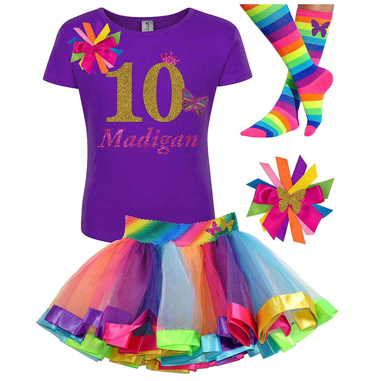 10th Birthday Girl Butterfly Outfit Gold 10 Purple Shirt Rainbow Party Gift Set Personalized Name