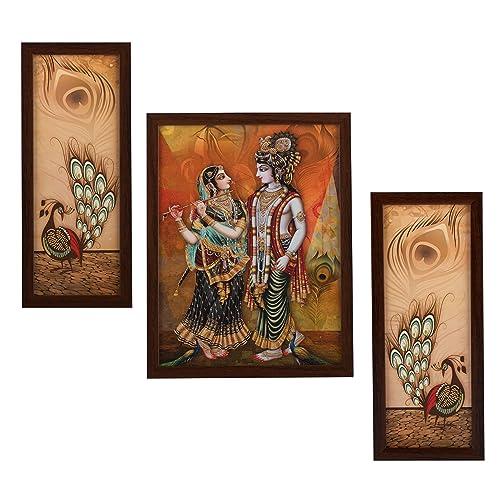 Indianara Radha Krishna Rectangular Synthetic Wood Art Painting (35 cm x 28 cm x 3 cm, Set of 3)