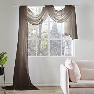 KEQIAOSUOCAI Chocolate Brown Sheer Window Scarf Valance 52 Inches Wide x 216 Inches Long