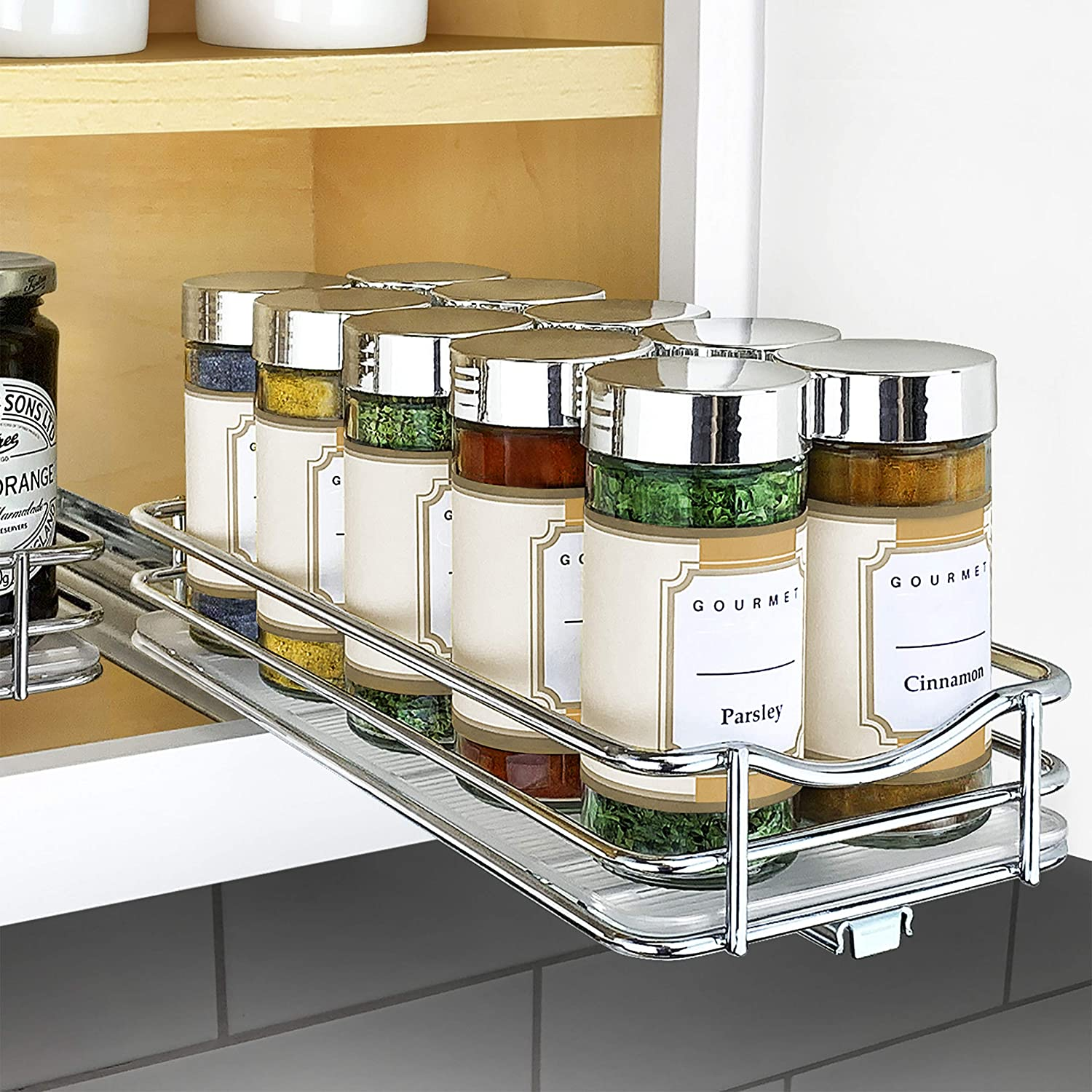 """Lynk Professional Spice Rack Upper Cabinet Organizer, 4-1/4"""" Single Slide Out, Chrome: Kitchen & Dining"""