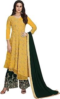 Comet Enterprise Net Sharara Salwar Suit (Yellow; Free Size)
