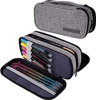 Trousse à Crayons Grande Capacité Trousse Scolaire avec Compartiments Trousse à Maquillage Organisateur de Rangement de Fo...