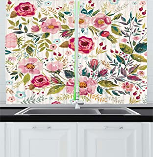 Ambesonne Floral Kitchen Curtains, Shabby Chic Flowers Roses Pedals Dots Leaves Buds Spring Season Theme Image Artwork, Window Drapes 2 Panels Set for Kitchen Cafe, 55W X 39L Inches, Multicolor