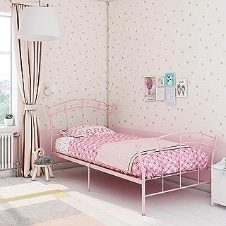 Panana snygg härlig rosa metall sängram 3 FT enkelsäng för flickor barn