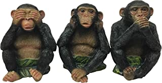 Ebros Whimsical See Hear Speak No Evil Monkeys With Banana Leaves Three Wise Apes Of The Jungle Figurine Set of 3 Animal Rainforest Sculptures Monkey See & Do Statue Fairy Tale Nursery Rhymes Allegory