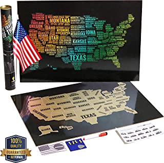 OutFormal Scratch Off Map of America – Stylish Us Map Scratch Off Laminated Poster – United States Map Art – Gold USA Map – Travel Map Poster with States and Cities – Travel Gift with Flag