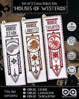 Game of Thrones Cross Stitch Kits - Set of 3 DIY Hand Embroidery Bookmarks: House Stark, Targaryen, Lannister - GoT Design Patterns