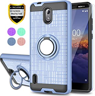 YmhxcY Nokia 3.1A (AT&T) Case,Nokia 3.1C (Cricket Wireless) Case with HD Screen Protector, 360 Degree Rotating Ring & Bracket Dual Layer Shock Bumper Cover for Nokia 3.1A 5.45