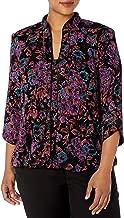 Alex Evenings Women's Plus Size Printed Mandarin Neck Twinset Tank Top and Jacket