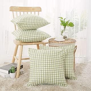 green houndstooth pillow