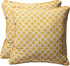 Pillow Perfect Decorative Geometric Square Toss Pillows, 18-1/2L x 18-1/2W x 5 D, Yellow/White