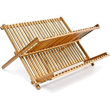 Relaxdays 10014073 Égouttoir à Vaisselle en bois CROSS HxlxP: 24,5 x 42 x 33 cm 2 Niveaux Pliant Bambou couverts cuisine, nature