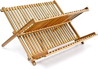 Relaxdays 10014073 platos escurridor con 2 niveles de bamb