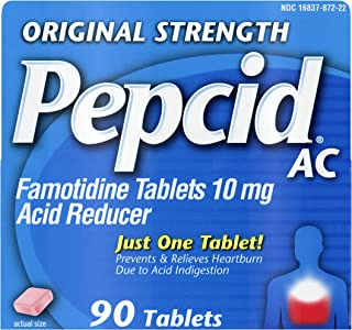 Pepcid AC Original Strength All-Day with 10 mg Famotidine for Heartburn Prevention & Relief, 90 ct.