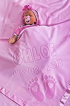 Girafe//Rose Couverture De Bebe Personnalisee Pour Lit De Bebe Ou Poussette Avec Nom De Bebe Et Motif Girafe Date De Naissance Gar/çon Ou Parent Cadeau Pour Bebe Fille Taille 88x88cm