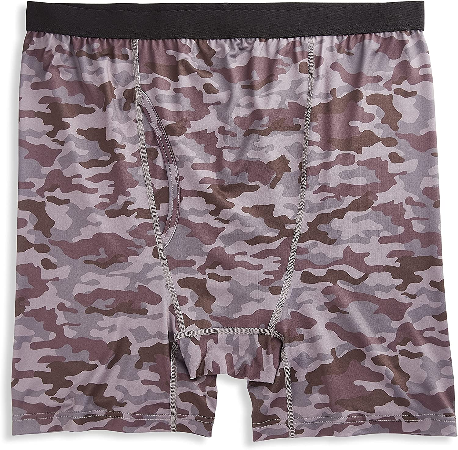 Harbor Bay by DXL Big and Tall Camo Performance Boxer Briefs, Grey