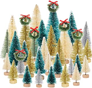 Gejoy Mini Christmas Trees Artificial Sisal Trees Snow Frost Ornaments with Wooden Bases for Christmas Home Party Decoration, 38 Pieces