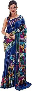 SareesofBengal Women's Pure Silk Handloom Kantha Stitch Saree Midnight Blue