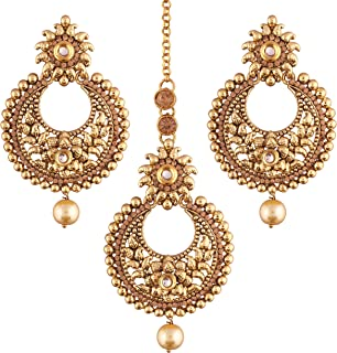 Indian Gold Plated Traditional Ethnic Bollywood Style Party Wear Earrings with Maang Tikka for Women (TE2421FL)
