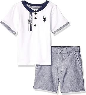 U.S. Polo Assn. Boys 8645 2 Piece Short Sleeve Henley and Short Set Shorts Set - Multi