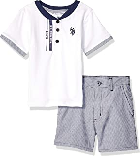 U.S. Polo Assn. Boys 8645 2 Piece Short Sleeve Henley and Short Set Shorts Set - Multi