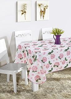 Mantel Mesa Rectangular Antimanchas Impermeable, Manteles Estampados para Comedor Cocina Casa Hotel Restaurante, 140x240cm, Flores Rosado