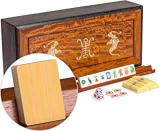 Yellow Mountain Imports American Mahjong Set, Bone and Bamboo Tiles with Inlay Bat Decor Rosewood Case - Set of Scoring Sticks, Dice, Four Wind Tiles, & Four Racks