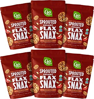 Go Raw Superfood Flax Snax, Gluten Free Crackers, Zesty Pizza, 3 oz. Bags (Pack of 6) — Keto   Organic   Vegan   Paleo   Natural