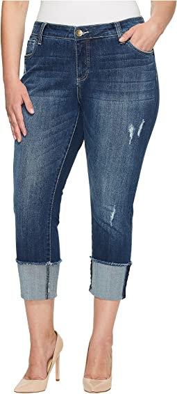 KUT from the Kloth - Plus Size Cameron Straight Leg in Arresting/Dark Stone Base Wash