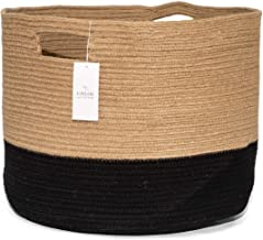 Chloe and Cotton XXXL Extra Large Woven Rope Storage Basket 15 x 21 inch Jute Black Handles   Decorative Laundry Clothes H...