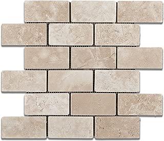 Durango Cream (Paredon) Travertine 2 X 4 Tumbled Brick Mosaic Tile - Sample Piece