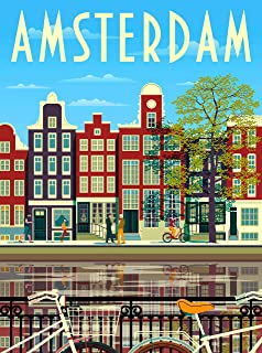 A SLICE IN TIME Amsterdam Holland Netherlands Retro Airline Travel Home Collectible Wall Decor Advertisement Art Poster Print. 10 x 13.5 inches