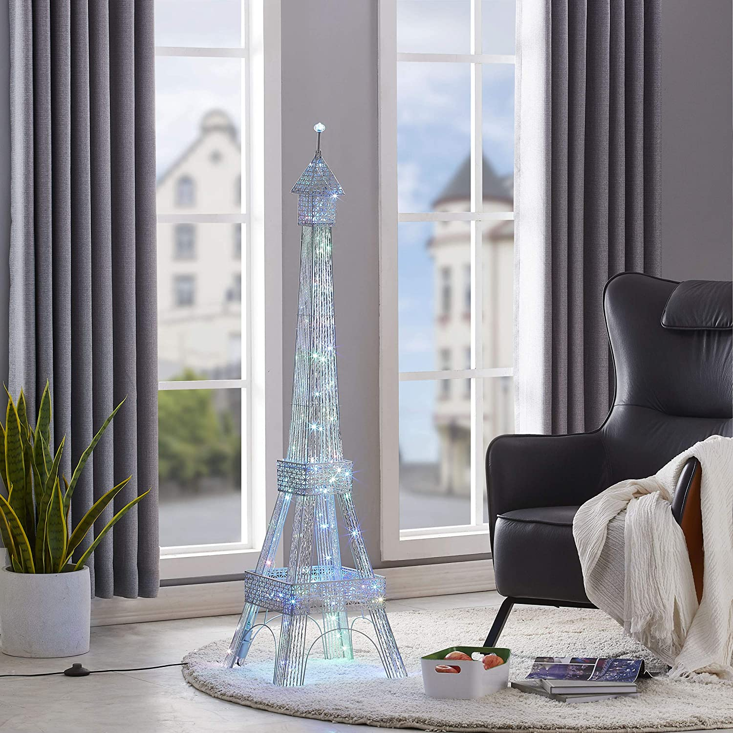 WOXXX Paris Eiffel Tower Floor Lamp with Led Twinkle String Lights 7 Color Changing Modern Floor Lamps for Living Room, Bedrooms Christmas Decorations Tall Stand Up Lamp New Year Standing Lamp