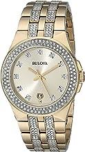 Bulova Men's 98B174 Swarovski Crystal Gold Tone Watch