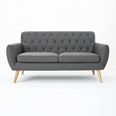 Amazon Com Zara Fabric Tufted Sofa With Chrome Legs