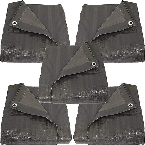 lowest Sunnydaze popular 12 x 16-Foot Set of 5 Reversible Dark Grey online Multi Purpose Poly Tarps outlet sale