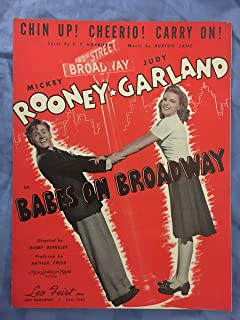 CHIN UP CHEERIO CARRY ON! (1941 EY Harburg and Burton Lane SHEET MUSIC) pristine condition, as performed by JUDY GARLAND (pictured) in BABES ON BROADWAY, beautiful copy!